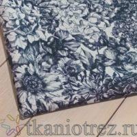Ткань Дьюспо черно белые цветы