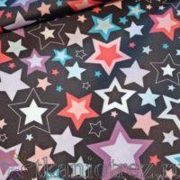 Ткань Оксфорд 210D принт Звезды на черном, пропитка PU 1000